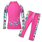 TFJH E Little Girls Swimsuit UPF 50+ UV Two Piece Lovely Swimming Training Suits Butterflyss Long 3-4 Years 4A