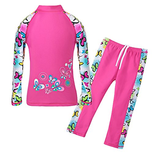 (TFJH E Little Girls Swimsuit UPF 50+ UV Two Piece Lovely Swimming Training Suits Butterflyss Long 6-7 Years 8A)