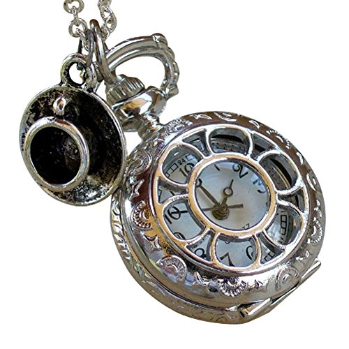 Alice in Wonderland Tea Party Steampunk pocket watch necklace pw1 (Tea Time Alice In Wonderland Costume)