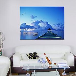 美时美刻 马尔代夫 现代客厅时尚家居玄关背景墙壁无框装饰画挂画 257