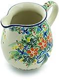 Polish Pottery 16 oz Pitcher made by Ceramika Artystyczna (Blue Ribbon Bouquet Theme) Signature UNIKAT + Certificate of Authenticity