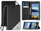 verizon lg cell phone case - LG K8V WALLET CASE, BLACK STRAP LANYARD WALLET CREDIT CARD CASE STAND FOR VERIZON LG K8V VS500 (K8-V)