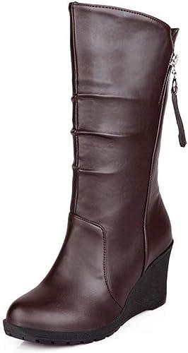 wedge mid calf boots women's