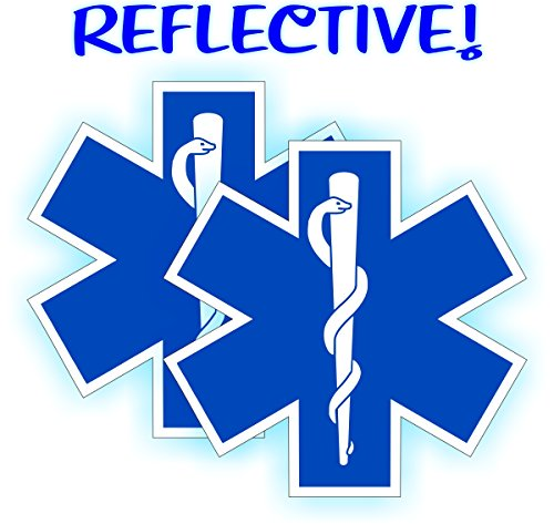 (2) REFLECTIVE Star of Life Hard Hat Stickers | Fire Rescue Helmet Motorcycle Vinyl Decals | Paramedic EMT Ambulance Labels Badges CPR AED First Aid Nurse RN DMT
