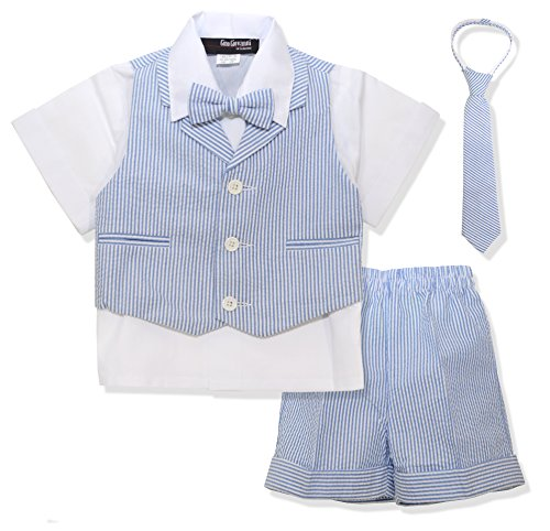 Gino Giovanni G286 Baby Toddler Boy Seersucker Summer Suit Vest Short Set (2T, Blue)