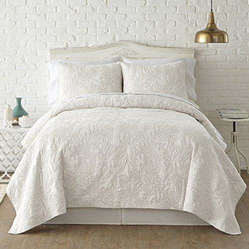 3 Piece White Embroidered Floral King Quilt Set, Milk White Solid Color Flowers Themed Adults Bedding Master Bedroom Contrast Stitched Lightweight Sophisticated Mid Century Modern, Microfiber 51YHzxnwnRL