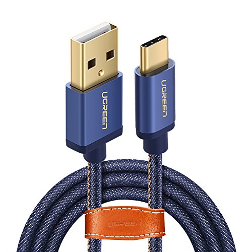 UGREEN Cable USB C 2.0 Carga Rápida y Sincronización USB Tipo C Denim Trenzado, para MacBook, ChromeBook Pixel, Huawei...