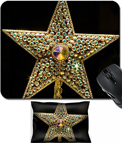 MSD Mouse Wrist Rest and Small Mousepad Set, 2pc Wrist Support design 26502910 Many Colorful Jewels inlaid in 5 pointed Star