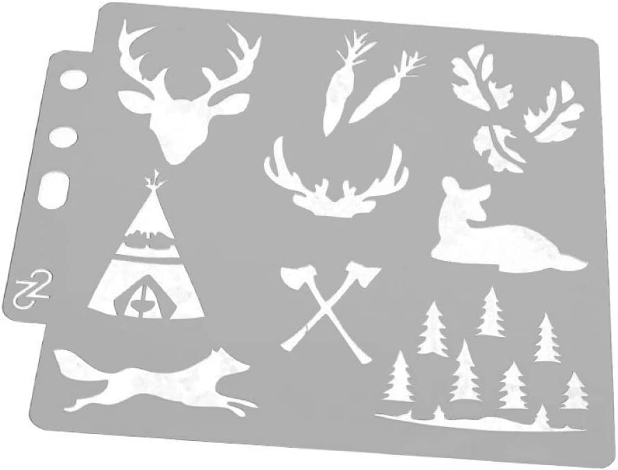 Deer Head Antlers Forest Tent Axe Stencil Template for Painting on Fabric Walls Furniture DIY Crafts Stencil Reusable