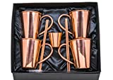100% Pure Copper Mugs Moscow Mule, Set of 4, Authentic Smooth Handcrafted 16oz Cups w/ Welded Copper Handles | Gift Box Includes Copper Shot Glass + 4 Straws + Straw Cleaner + Recipe Book