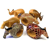 Mahogany Wood Animal Napkin Rings - Set of Six by Blue Sky Collection