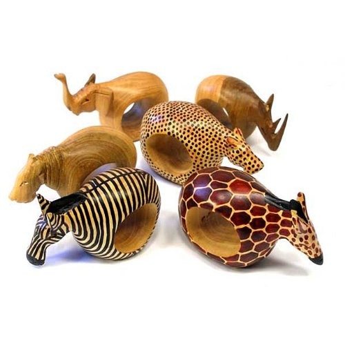 Global Crafts Mahogany Wood Animal Napkin Rings - Set of Six