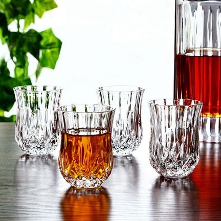 Elegant-Crystal-Liquor-Whiskey-and-Wine-Decanter-Bar-Set-Irish-Cut-7-Piece-Set-1-Decanter-450ml-6-Tulip-shaped-2oz-Shot-Glasses
