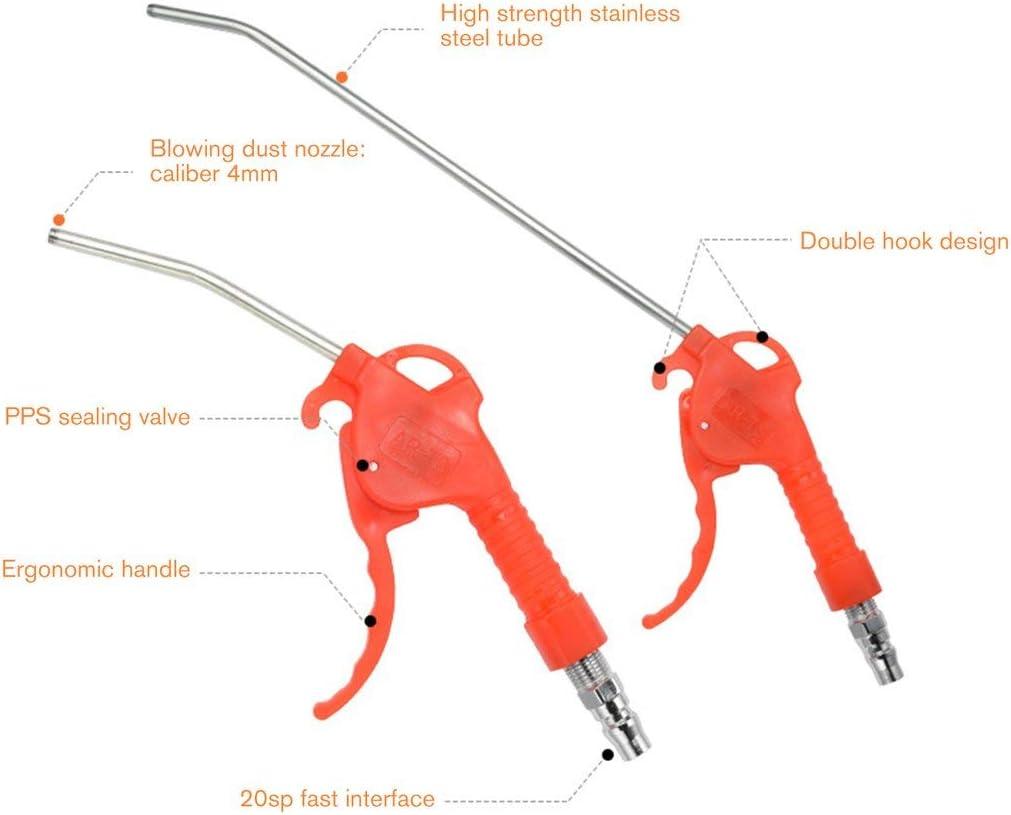 Pistola de soplado de aire de 50MPa Mango de plástico Boquilla doblada en ángulo Limpiador de pistola de aire Limpiador de pistola de aire Soplador de aire Herramientas neumáticas (Color: rojo)