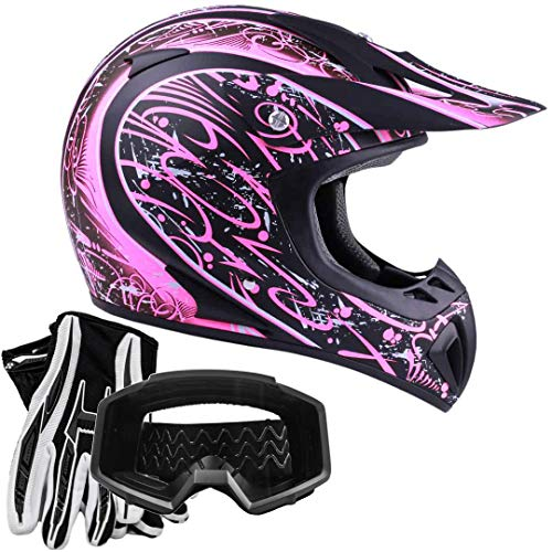 Typhoon Women's Dirt Bike ATV Helmet Motocross Goggles and Gloves Combo - Matte Pink with Black (Small)