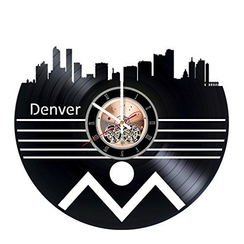choma Denver Colorado Vinyl Record Wall Clock - Living Room wall decor - Gift ideas for men and women - Skyline Unique Art Design - Manchester Living Room