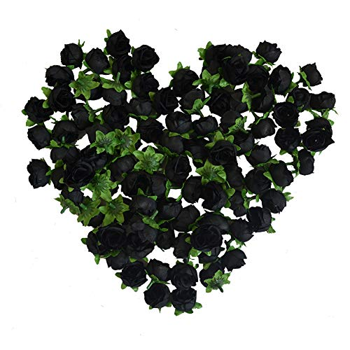 Eternal Blossom Artificial Rose Flower Head 50PCs for Wedding Planning, Holiday Party, 3cm Fake Flower Home Decoration, Baby Shower (Black)]()