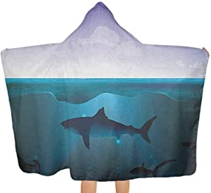 """shirlyhome Baby Hooded Towel Underwater Bath Towel for Shawl Wild Sharks Swimming in Sea Atlantic Ocean Peace Clouds Marine Design Violet Petrol Blue Size 30""""x50"""""""