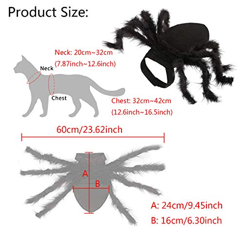 Vehomy Halloween Pet Cat Spider Costume Harness Clothes for Cats and Small Dogs Halloween Party Dres - http://coolthings.us