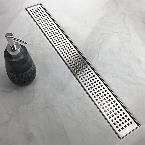 Neodrain 60-Inch Linear Shower Drain with Quadrato Pattern Grate, Professional Brushed 304 Stainless Steel Rectangle Shower Floor Drain Manufacturer,Floor Shower Drain With Leveling Feet,Hair Strainer ()