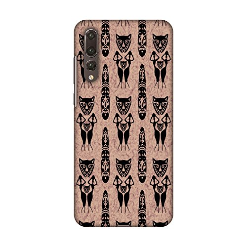 AMZER Slim Fit Handcrafted Designer Printed Snap On Hard Shell Case Back Cover with Screen Cleaning Kit Skin for Huawei P20 Pro - Tribal Murals- Black and Beige HD Color, Ultra Light Back Case