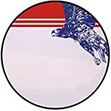 Printing Round Rug,Eagle,Colors of the American Flag Red White Blue Bird Symbol of America Loyalty Mat Non-Slip Soft Entrance Mat Door Floor Rug Area Rug For Chair Living Room,Navy Blue Red White