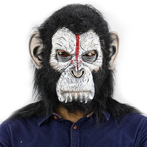 QTMY Latex Rubber Grotesques Ugly Horrible Apes Gorilla Monkey Mask with Hair for Halloween Party Costume (White Gorilla Costume)