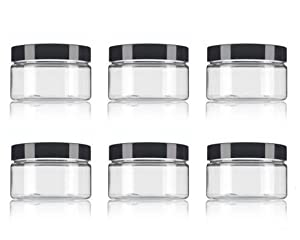 8 Oz / 250ml PET Plastic Refillable Jars Empty Cosmetic Containers Cases with Black Lid Cream Lotion Box Ointments Bottle Food Bottle Makeup Pot Jar for Lip Balm Make Up Eye Shadow Powder Pack of 6