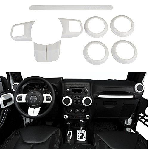 Opar White Steering Wheel & Air Conditioning Vent & Copilot Handle Cover Trim Kit for 2011 - 2018 Jeep JK Wrangler & Unlimited