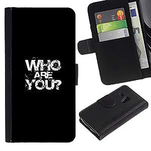 Protector de cuero de la PU de la cubierta del estilo de la carpeta del tirón BY RAYDREAMMM - Samsung Galaxy S3 MINI 8190 - Quién eres