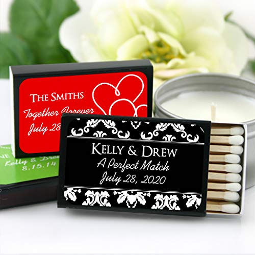 Personalized Matces for Wedding Favors – Custom Wedding Matches – Silhouette Designs (Set of 50 Matchboxes) (Black Box)