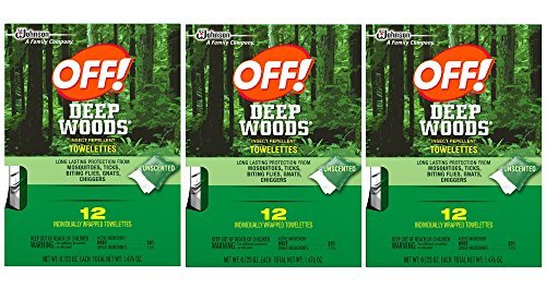 Deep Woods Off Deep Woods Insect Repellent Wipes 12-Towelettes (Pack of 3) -