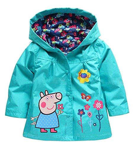 EkarLam Children Girls Cute Printed Hooded Windbreaker Raincoat Jacket Peppa Pig Peppa Pig Peppa Pig Blue 110cm / (Blue Raincoat Costume)