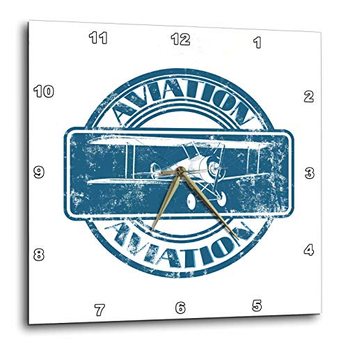 Aviation Nose Art - 3dRose Macdonald Creative Studios – Aviation - Classic Vintage Aviation Nose Art Design of a Vintage Biplane - 10x10 Wall Clock (DPP_295413_1)