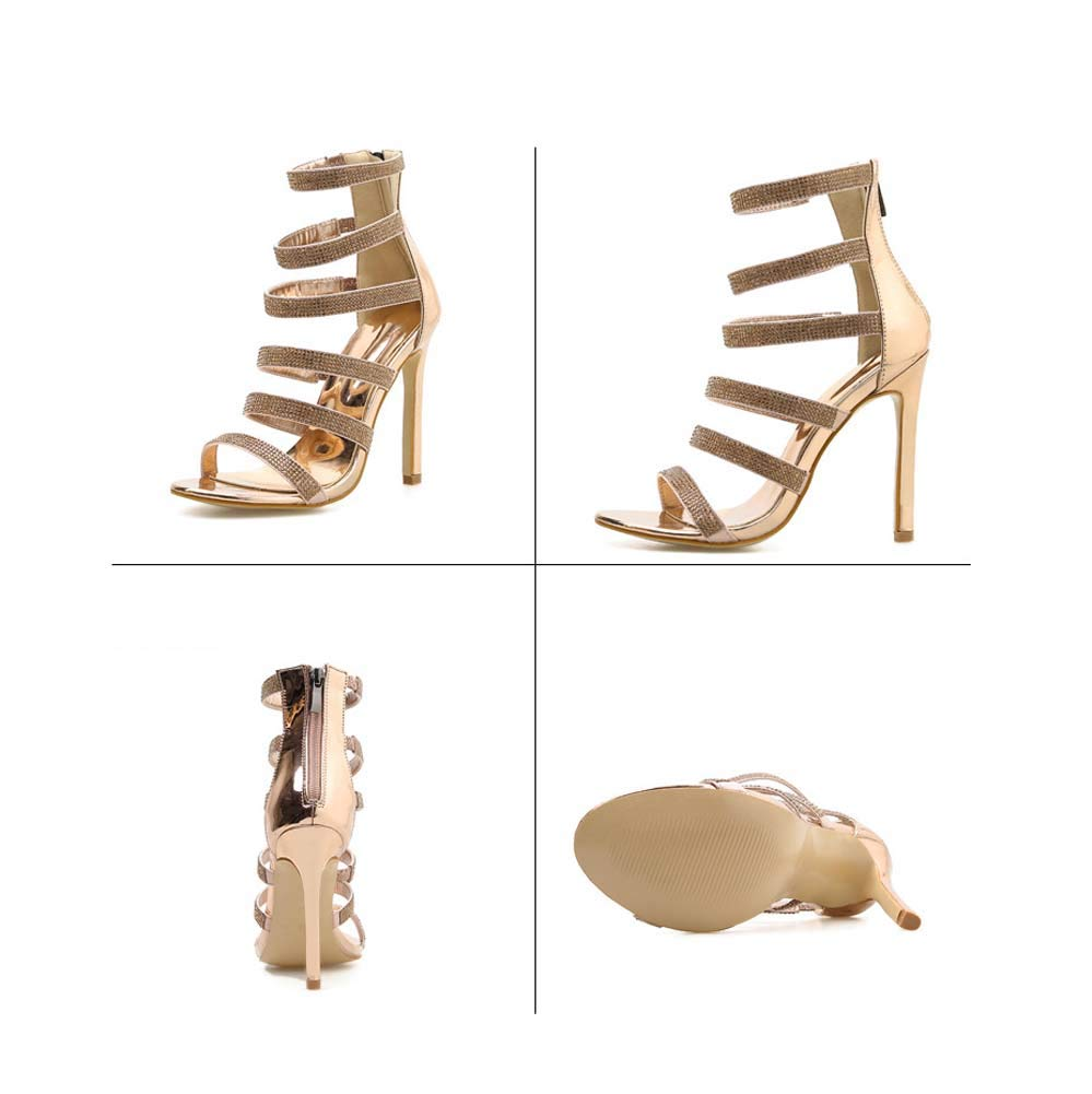 GHFJDO Damen Rhinestone Sandalen Sommer Neue römische römische römische Schuhe Goldene Peep Toe Schuhe Ankle Strappy Chunky Heels Dress Party Pumps Metallic 36EU 7e8bbe