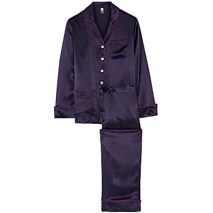 Pijamas ropa de dormir camisón ropa de casa damas francés temperamento púrpura de manga larga ribete