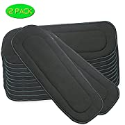 5 Layer Charcoal Bamboo Cloth Diaper Inserts Washable Liners (12Pcs Bamboo Insert)