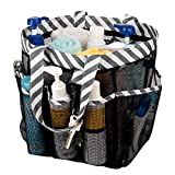 SANNO Multicolor Mesh Shower Totes, Large Capacity Camping Shower Caddy, Portable Shower Organizer,Thick Black