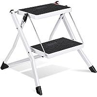 delxo Paso Taburete Stepladders Acero Blanco Escalera plegable de acero con empuñadura antideslizante resistente y pedal…