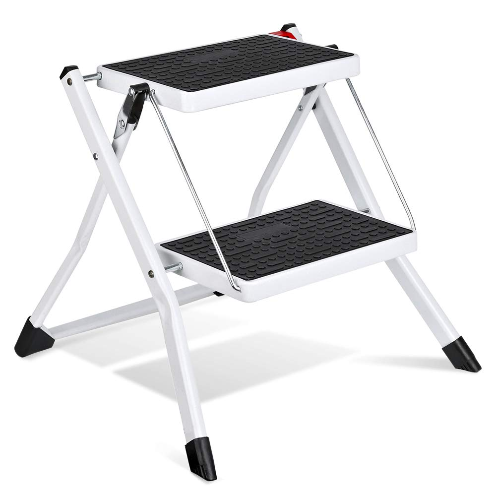 Delxo 2 Step Stool Stepladders Lightweight White Folding Step Ladder with Handgrip Anti-Slip Sturdy and Wide Pedal Steel Ladder Mini-Stool 250lbs 2-Feet by Delxo