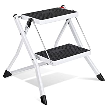 Pleasant Delxo Step Stool Stepladders Lightweight White Folding Step Pabps2019 Chair Design Images Pabps2019Com