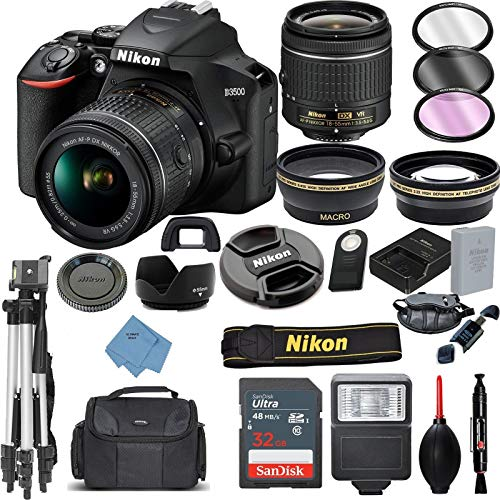 Nikon D3500 Digital SLR Camera & 18-55mm VR DX AF-P Lens with 32GB Card + Case + Tripod + 2 Lens Kit+ Ultimate Deals Accessory Bundle