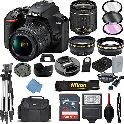 Nikon D3500 Digital SLR Camera & 18-55mm VR DX AF-P Lens with 32GB Card + Case + Tripod + 2 Lens Kit+ Ultimate Deals Accessory Bundle (Best Dslr Bundle Deal)