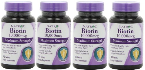 - Natrol Biotin Maximum Strength 10,000 mcg (Pack of 5) (100 tablets)