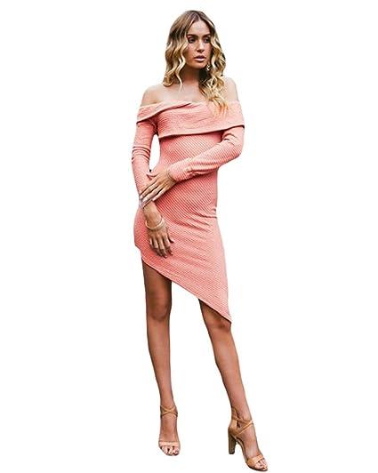 9d0a2c7eb4ad Romacci Women Off Shoulder Knit Dress Mini Pencil Bodycon Dresses Long  Sleeve Layered Asymmetric Sweater at Amazon Women s Clothing store