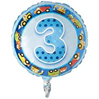 "Qualatex Foil Balloon 26291 AGE 3 BLUE TRUCKS & DIGGERS, 18"", Multicolored"