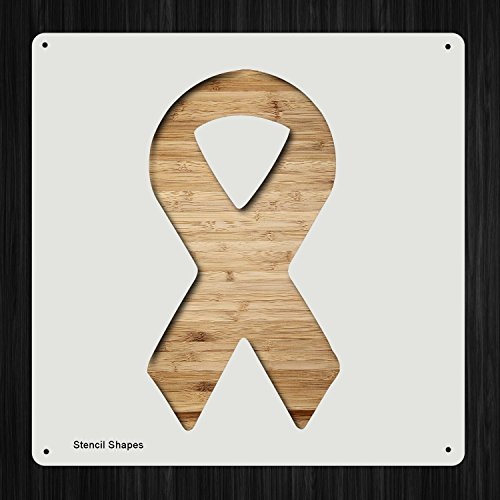 Cancer Awareness Ribbon Plastic Mylar Stencil for Painting, Walls and Crafts, Item - Ribbon Stencil