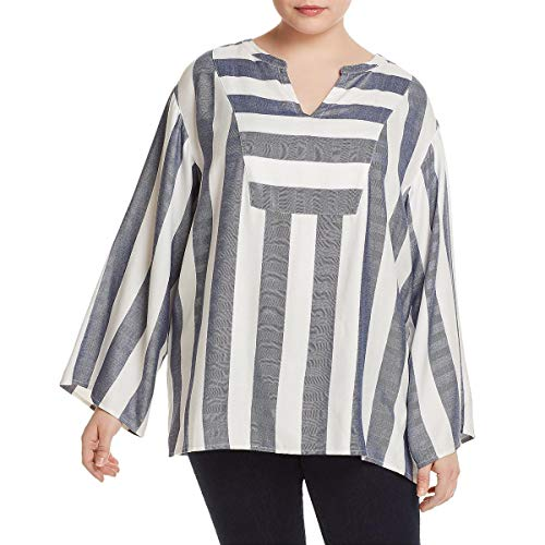 Two by Vince Camuto Women's Plus Size Bell Sleeve Refined Herringbone V-Neck Shirt Twilight Sky 1X ()