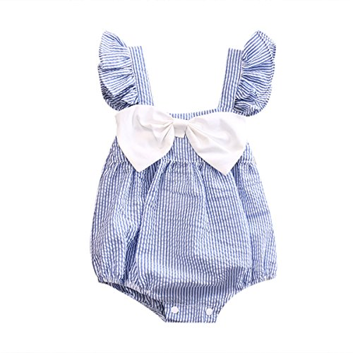Newborn Baby Girl Striped Bubble Romper Jumpsuit Outfits Infant Ruffle Sleeveless Bodysuit Summer Clothes Blue for 6-12 Months