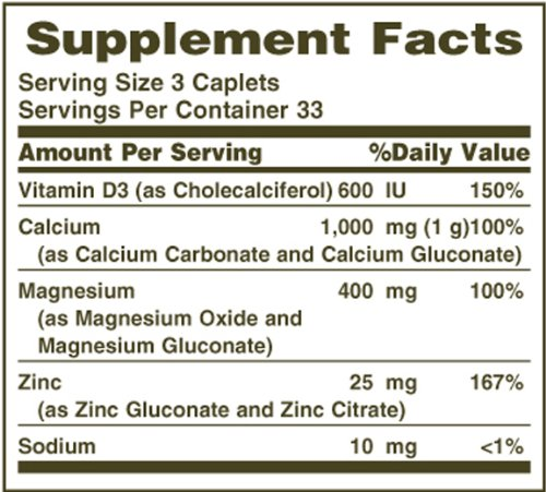 Nature's Bounty Calcium Carbonate Pills with Magnesium and Zinc Mineral Supplement, Supports Bone Strength and Health, 1000mg, 100 Caplets by Nature's Bounty (Image #2)